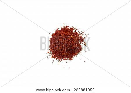 Organic Dry Threads Saffron Spice Isolated On White