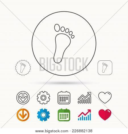 Baby Footprint Icon. Child Foot Sign. Newborn Step Symbol. Calendar, Graph Chart And Cogwheel Signs.