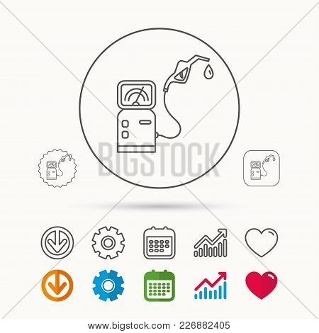 Gas Station Icon. Petrol Fuel Pump Sign. Calendar, Graph Chart And Cogwheel Signs. Download And Hear