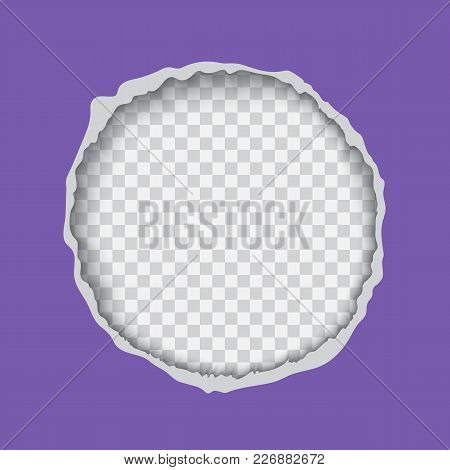 Vector Realistic Illustration Of Ultra Violet Torn Paper With Ripped Edges, Round Shaped Hole Isolat