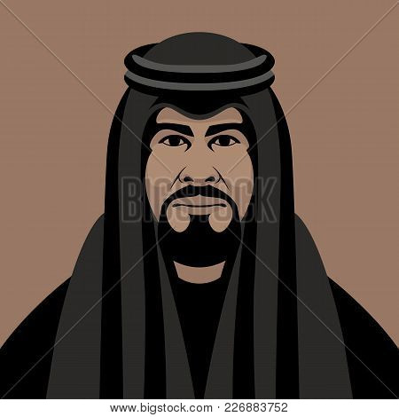 Arab Muslim  Face   Vector Illustration Flat Style Front Side