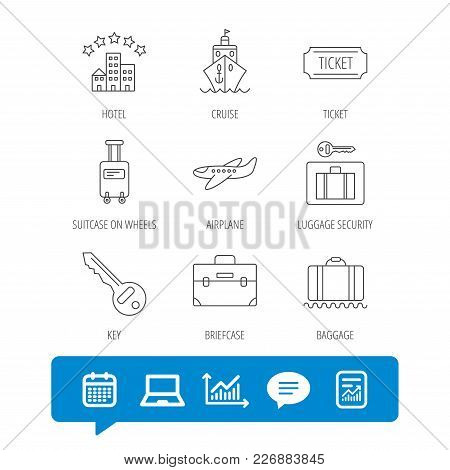 Hotel, Cruise Ship And Airplane Icons. Key, Baggage And Briefcase Linear Signs. Luggage Security And