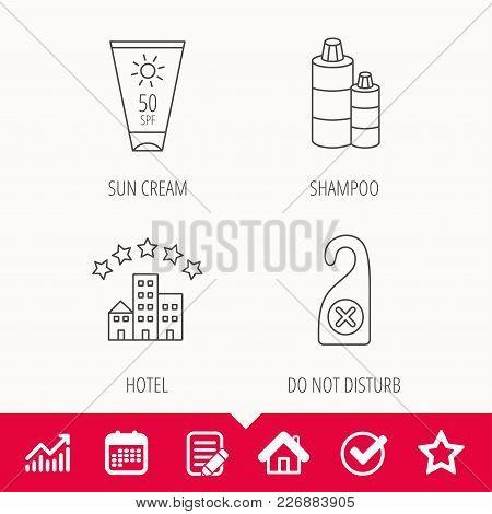 Hotel, Shampoo And Sun Cream Icons. Do Not Disturb Linear Sign. Edit Document, Calendar And Graph Ch