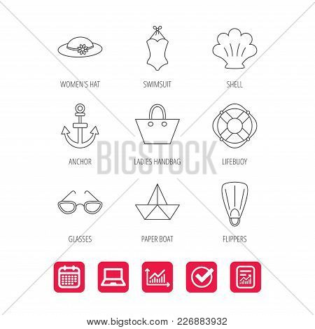 Paper Boat, Shell And Swimsuit Icons. Lifebuoy, Glases And Women Hat Linear Signs. Anchor, Ladies Ha
