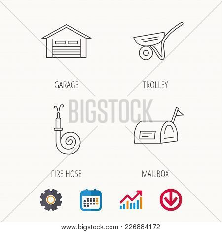 Mailbox, Garage And Fire Hose Icons. Trolley Linear Sign. Calendar, Graph Chart And Cogwheel Signs.