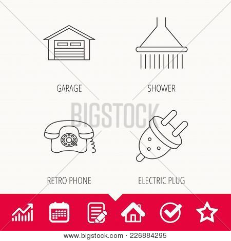 Retro Phone, Garage And Electric Plug Icons. Shower Linear Sign. Edit Document, Calendar And Graph C