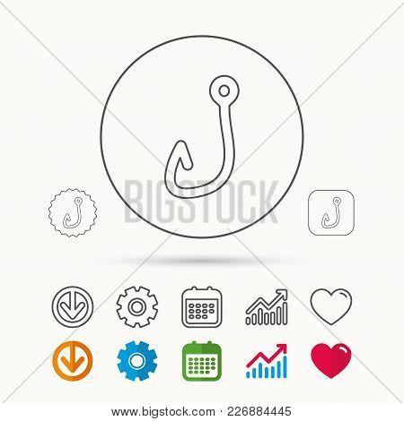 Fishing Hook Icon. Fisherman Equipment Sign. Angling Symbol. Calendar, Graph Chart And Cogwheel Sign