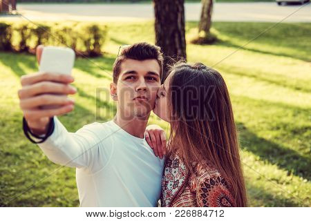 Young Man Doing Selfie With His Girlfriend.