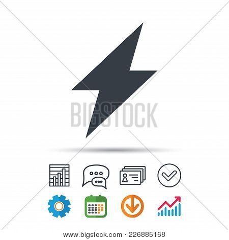 Lightning Icon. Electricity Energy Power Symbol. Statistics Chart, Chat Speech Bubble And Contacts S