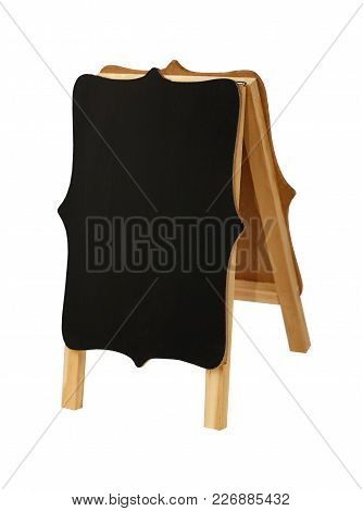 Close Up One Small Shaped Empty Blank Clean Black Chalkboard Sign Stand Isolated On White Background