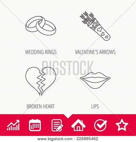 Broken Heart, Kiss And Wedding Rings Icons. Valentine Amour Arrows Linear Sign. Edit Document, Calen