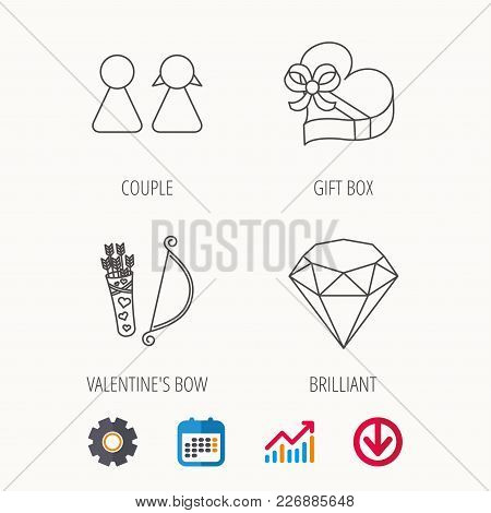 Couple, Brilliant And Engagement Gift Box Icons. Valentine Amour Arrows Linear Signs. Calendar, Grap
