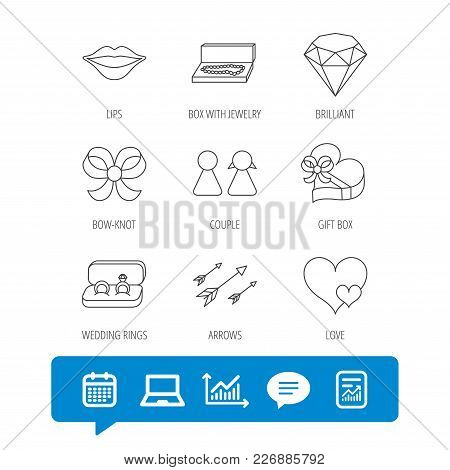 Love Heart, Gift Box And Wedding Rings Icons. Kiss Lips And Couple Linear Signs. Valentine Amour Arr