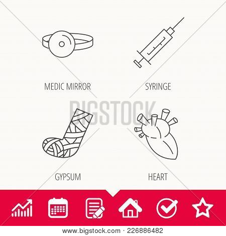 Syringe, Heart And Gypsum Icons. Medical Mirror Linear Sign. Edit Document, Calendar And Graph Chart
