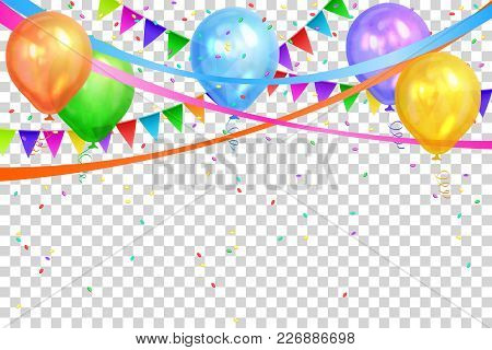 Happy Birthday Design. Border Of Realistic Colorful Helium Balloons And Flags Garlands Isolated On T