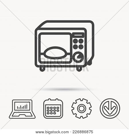 Microwave Oven Icon. Kitchen Appliance Sign. Notebook, Calendar And Cogwheel Signs. Download Arrow W