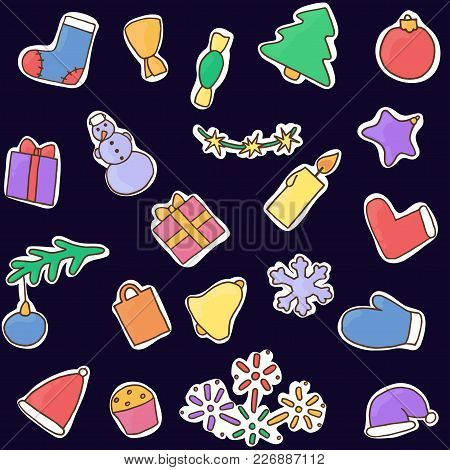 New Year Icons Set In Dark Blue Background. Christmas Stickers Vector Illustration. Collection Of Sy