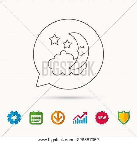 Night Or Sleep Icon. Moon And Stars Sign. Crescent Astronomy Symbol. Calendar, Graph Chart And Cogwh