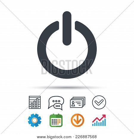 On, Off Power Icon. Energy Switch Symbol. Statistics Chart, Chat Speech Bubble And Contacts Signs. C