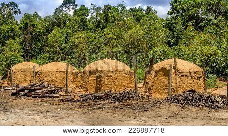 Charcoal Furnace On The Eucalyptus Farm In Minas Gerais , Brazil.