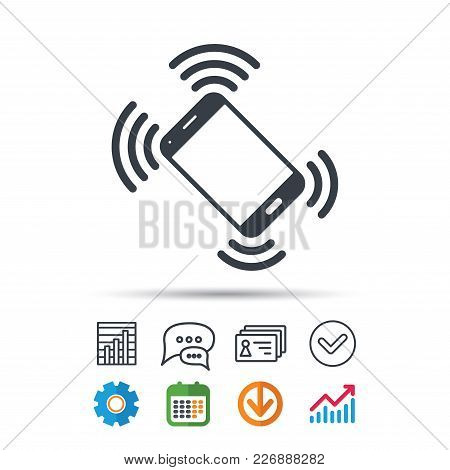 Smartphone Call Icon. Mobile Phone Communication Symbol. Statistics Chart, Chat Speech Bubble And Co