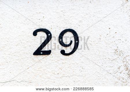 House Number 29 Twenty Nine On The Textured Wall