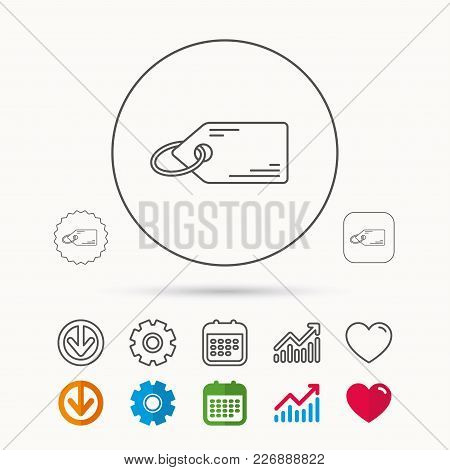 Price Tag Icon. Discount Label Sign. Shopping Coupon Symbol. Calendar, Graph Chart And Cogwheel Sign
