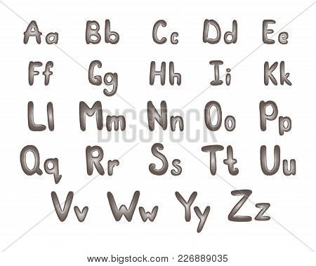 Metal Alphabet Vector Illustration. Abc Of Silver. Steel Letters.