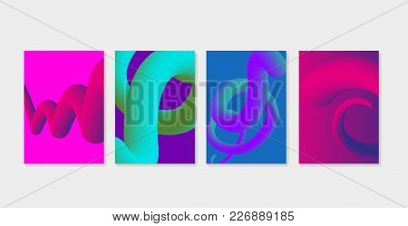 Set Of Liquid Fluid Cover Templates. Liquid Plastic Shapes With Ultra Violet Purple Colors. Can Be U