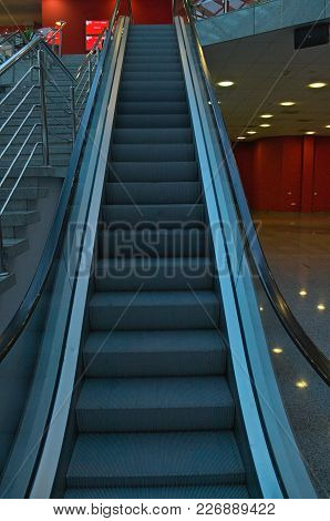 Empty Moving Stairs In Mall Going Up