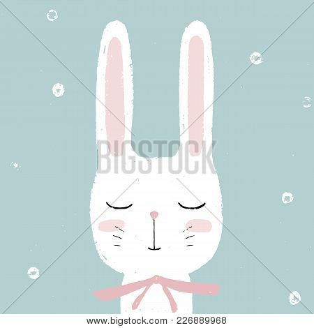 Cute Little White Rabbit Bunny. Hand Drawn Vector Card, Illustration For Children. Easter, Baby Show