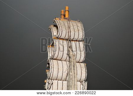 Sail On Miniature Sailing Ship, Close Up