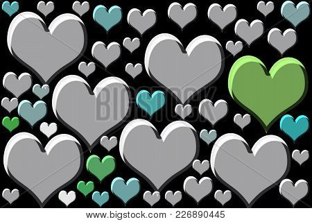 White/green/blue/or Grey Colored Heart Shape On Black Surface.