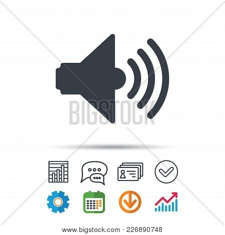 Sound Icon. Music Dynamic Symbol. Statistics Chart, Chat Speech Bubble And Contacts Signs. Check Web