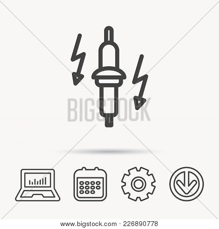 Spark Plug Icon. Car Electric Part Sign. Notebook, Calendar And Cogwheel Signs. Download Arrow Web I
