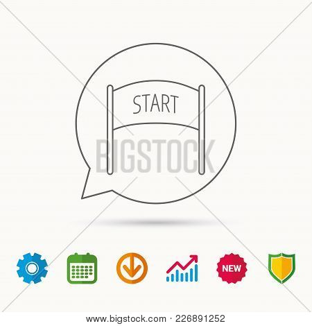 Start Banner Icon. Marathon Checkpoint Sign. Calendar, Graph Chart And Cogwheel Signs. Download And