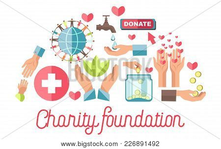 Charity Foundation Promotional Poster With Small Icons Set That Connected With Various Kinds Of Orga