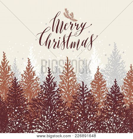 Hand Drawn Christmas Card. New Year Trees With Snow.vector Design Illustration.