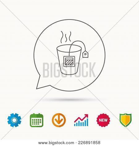 Tea Bag Icon. Natural Hot Drink Sign. Breakfast Beverage Symbol. Calendar, Graph Chart And Cogwheel