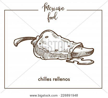 Chiles Rellenos Sketch Icon For Mexican Food Cuisine Menu Design. Vector Sketch Of Mexico Traditiona