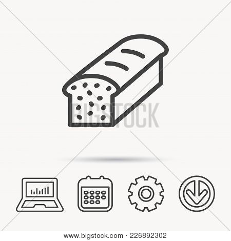 Toast Icon. Sliced Bread Sign. Bakery Symbol. Notebook, Calendar And Cogwheel Signs. Download Arrow