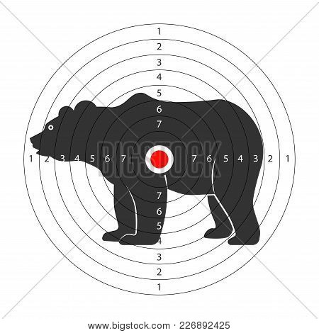 Target For Shooting Gallery With Huge Bear Silhouette. Wild Dangerous Animal On Aim With Scores. Eno