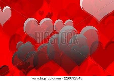 Colorful Heart Shapes Drawn On Red Background.
