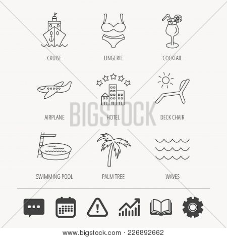 Cruise, Waves And Cocktail Icons. Hotel, Palm Tree And Swimming Pool Linear Signs. Airplane, Deck Ch