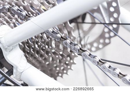 Frankfurt / Germany - Jul 15 2017: Bicycle Gear, Disk Brake, Metal Chain Rings And Shimano Deore Cn-