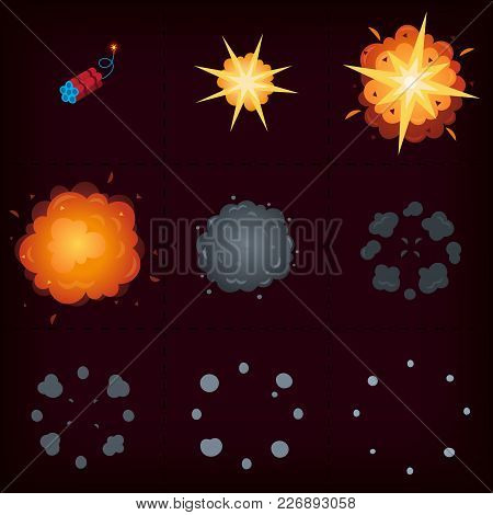 Animation Of Explosion. Cartoon Vector Sprites. Nine Isolated Frames With Stages Of Exploding Bomb