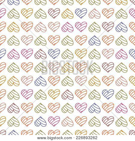 Happy Valentines Day. Seamless Pattern Background With Pastel Hearts. Vector Illustration For Romant