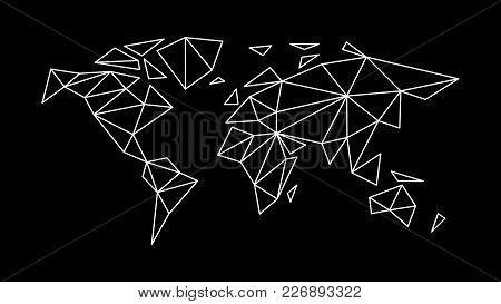 Fashion Contour Map Of The World In The Style Of Triangulation For Interior, Design, Advertising, Ic