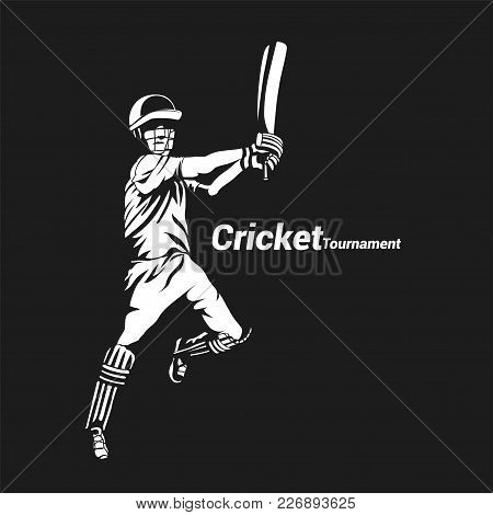 Minimal Logo Of Batsman On Black Background With Typography Vector Illustration Design.