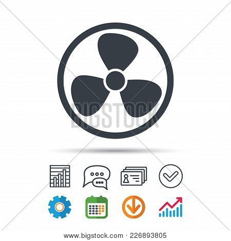 Ventilation Icon. Air Ventilator Or Fan Symbol. Statistics Chart, Chat Speech Bubble And Contacts Si